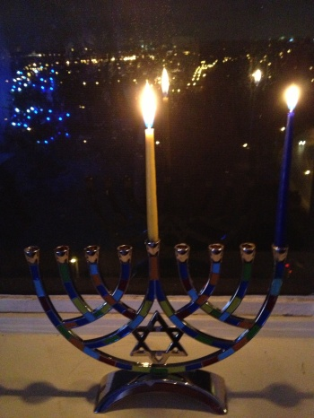 we light the candle from right to left just how you read/write hebrew. The middle candle (Shamash) is always lit. We light the middle candle first and then use the middle candle to light the rest of the candles. Every day, we had a candle to the right.