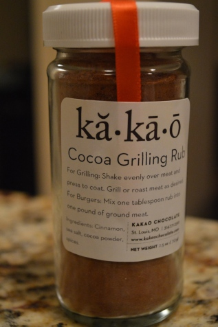 Create your own grilling rub, if a Kakao Store isn't located near you. Ingredients: Cinnamon, cocoa powder, sea salt, and spices.