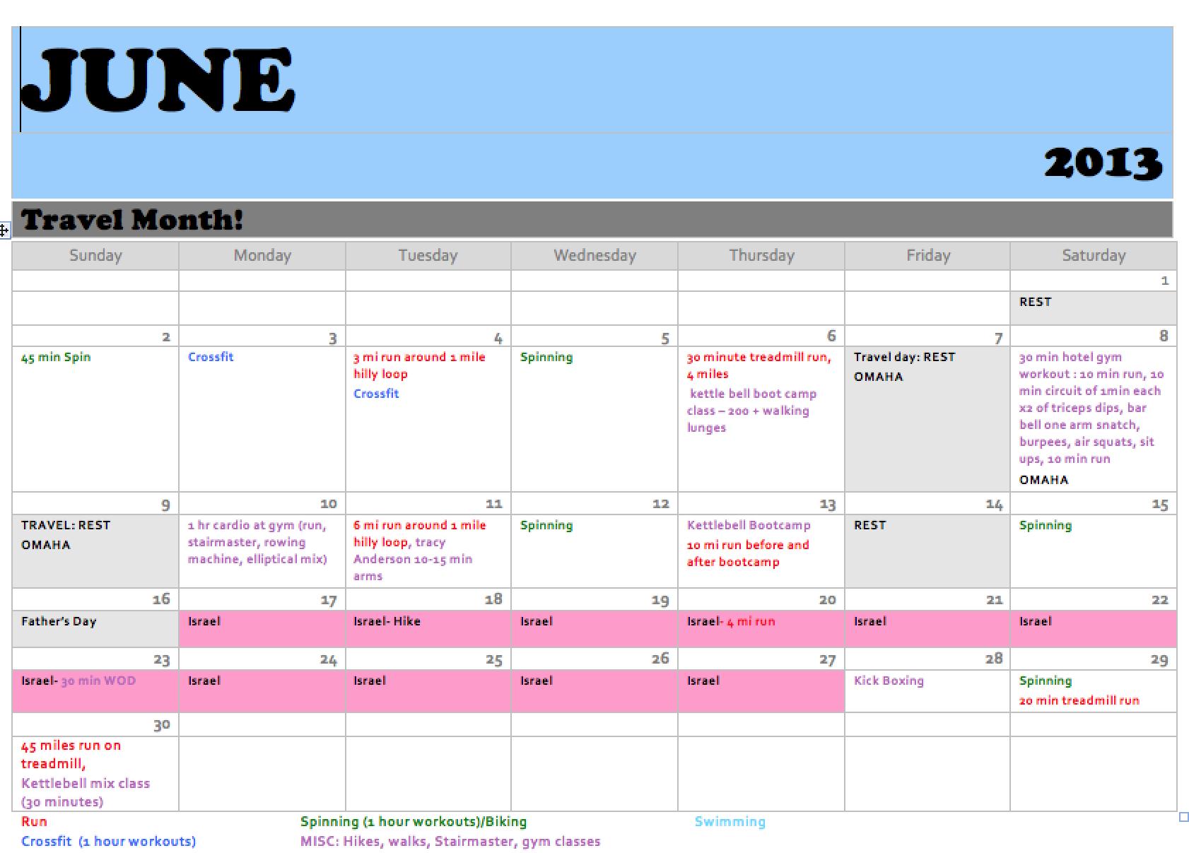 """for """"Workout Calendar Template June 2013"""" – Calendar 2015"""
