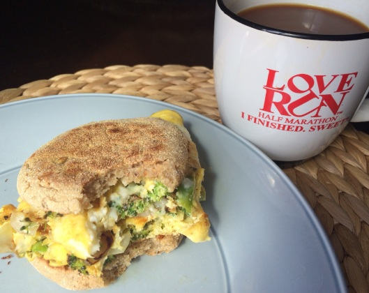 While my quiche was baking, I was starving so I used up the rest of my eggs to make a broccoli/shallot and cheese omelet-wich (omelet folded on a whole grain english muffin)